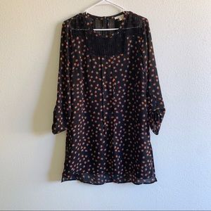 Meadow for Anthropologie black floral tunic dress